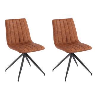 Lot de 2 chaises design ELSBJERG polyuréthane cognac