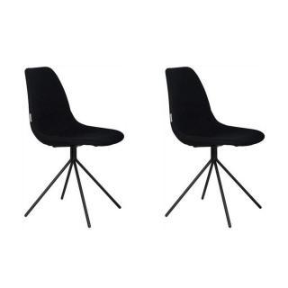 ZUIVER lot de 2 chaises  FOURTEEN noire piétement noir