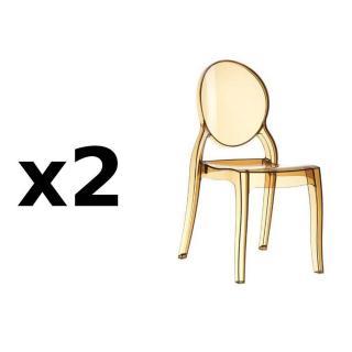 Lot de 2 chaises médaillon IMPÉRATRICE style Louis XVI en polycarbonate coloris champagne