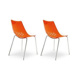 Lot de 2 chaises JAM  piétement acier chromé assise bicolore