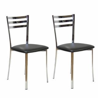 Lot de 2 chaises JODY piétement acier chromé assise polyuréthane noir