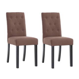 Lot de 2 chaises capitonnées DAGOBERT en lin taupe
