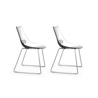 Lot de 2 chaises design JAM  piétement luge assise bicolore