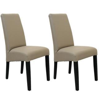 Lot de 2 chaises design MALMÔ  revêtement polyuréthane taupe piétement noir