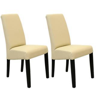Lot de 2 chaises design MALMÔ  revêtement polyuréthane ivoire piétement noir