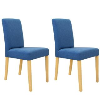 Lot de 2 chaises design BORG tissu bleu piétement naturel