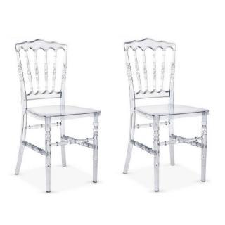 Lot de 2 chaises design MARIE LOUISE en polycarbonate transparent