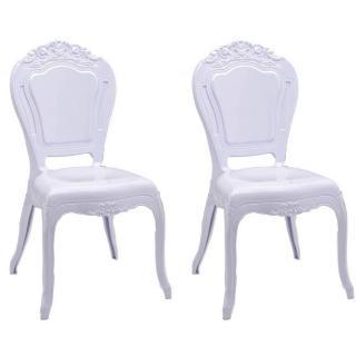 Lot de 2 chaises design NAPOLEON en polycarbonate opaque blanc
