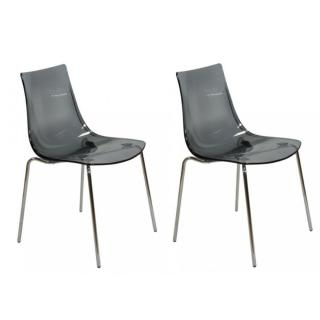 Lot de 2 chaises ORBITAL empilables design fumé