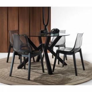 Lot de 2 chaises ORBITAL WOOD design fumé piétement teinté noyer.