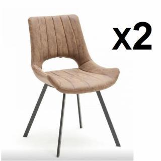 Lot de 2 chaises design ORLY cappuccino piétement anthracite