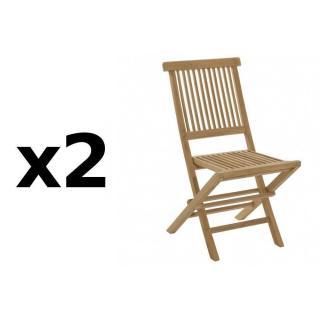 Lot de 2 chaises de jardin JAVA en teck