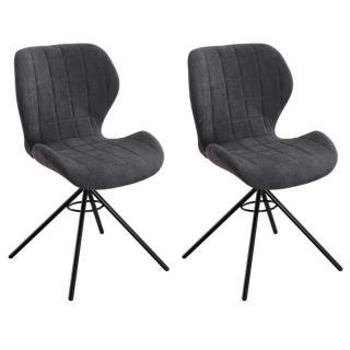 Lot de 2 chaises design STORM tissu gris graphite