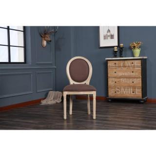 Lot de 2 chaises médaillon VERSAILLES style louis XVI lin marron et chêne clair vieilli