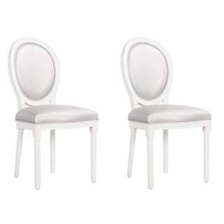 Lot de 2 chaises médaillon VERSAILLES style louis XVI revêtement polyuréthane gris
