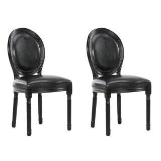 Lot de 2 chaises médaillon VERSAILLES style louis XVI revêtement polyuréthane noir