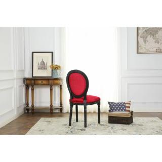 Lot de 2 chaises médaillon VERSAILLES style louis XVI velours rouge