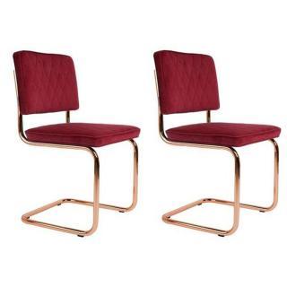 ZUIVER Lot de 2 chaises DIAMOND tissu rouge avec cadre cuivré