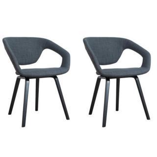 ZUIVER lot de 2 chaises FLEX BACK gris graphite piétement noir