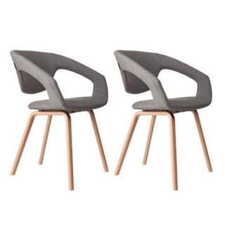 ZUIVER lot de 2 chaises FLEX BACK gris silex piétement bois