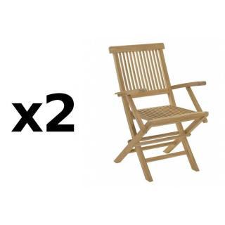 Lot de 2 fauteuils de jardin JAVA en teck