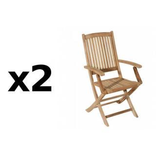 Lot de 2 fauteuils de jardin LOMBOCK en teck