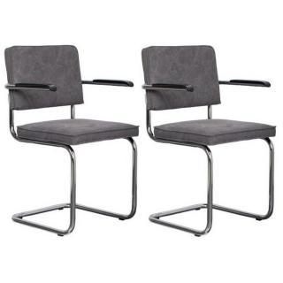 ZUIVER lot de 2 fauteuils RIDGE VINTAGE tissu gris