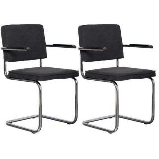 ZUIVER lot de 2 fauteuils RIDGE VINTAGE tissu noir