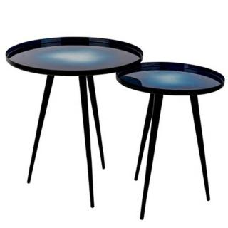 Lot de 2 tables basses FLOW plateau en aluminium bleu