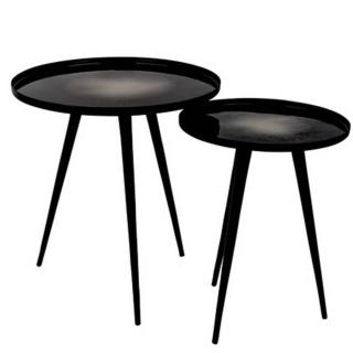 Lot de 2 tables basses FLOW plateau en aluminium noir