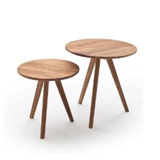 Set de 2 tables basses GENEVE en bois de chêne à noeud massif