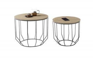 Lot de 2 tables d'appoint HAMBOURG plateau placage chêne piètement filaire noir
