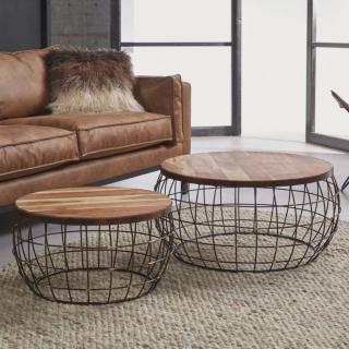 Lot de 2 tables basses INVADER en bois et cuivre
