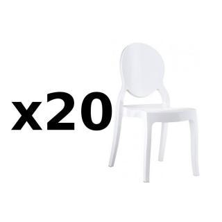 Lot de 20 chaises médaillon IMPÉRATRICE style Louis XVI en polycarbonate blanc opaque