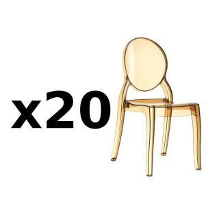 Lot de 20 chaises médaillon IMPÉRATRICE style Louis XVI en polycarbonate coloris champagne
