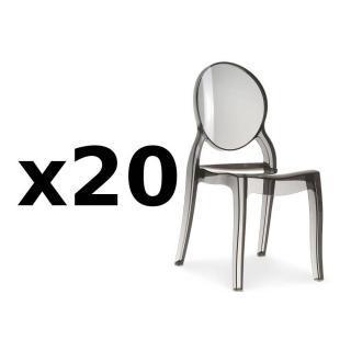 Lot de 20 chaises médaillon IMPÉRATRICE style Louis XVI en polycarbonate coloris fumé