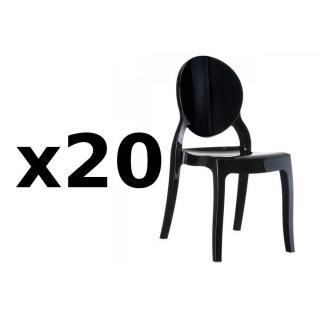 Lot de 20 chaises médaillon IMPÉRATRICE style Louis XVI en polycarbonate noir opaque