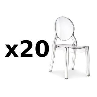 Lot de 20 chaises médaillon IMPÉRATRICE style Louis XVI en polycarbonate transparent