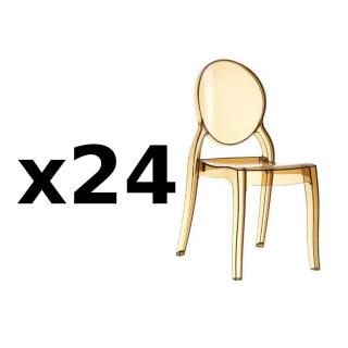 Lot de 24 chaises médaillon IMPÉRATRICE style Louis XVI en polycarbonate coloris champagne