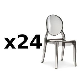 Lot de 24 chaises médaillon IMPÉRATRICE style Louis XVI en polycarbonate coloris fumé