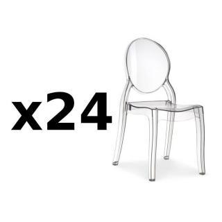 Lot de 24 chaises médaillon IMPÉRATRICE style Louis XVI en polycarbonate transparent