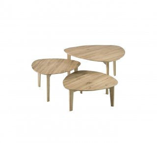 Set de 3 tables basses COLMAR en chêne massif à noeud