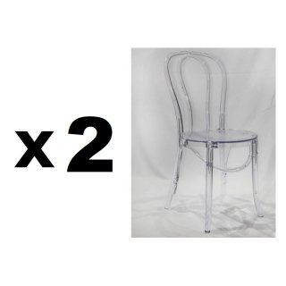 Lot de 4 chaises design bistrot PARIS en polycarbonate transparent