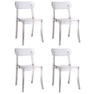 Lot de 4 chaises design bistrot SIXTEES en polycarbonate transparent