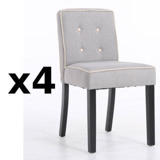 Lot de 4 chaises design contemporain CHARLEMAGNE tissu lin gris clair