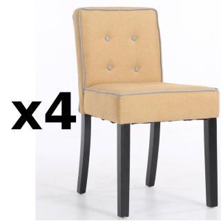 Lot de 4 chaises design contemporain CHARLEMAGNE tissu lin jaune