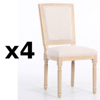 Lot de 4 chaises design rustique CLOVIS lin écru