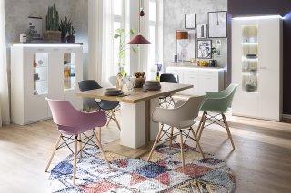 Lot de 4 chaises scandinave REMO coque grise piétement hêtre naturel