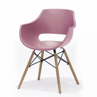 Lot de 4 chaises scandinave REMO coque rouge piétement hêtre naturel