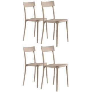 Lot de 4 chaises CORSOCOMO empilables polypropylène sable